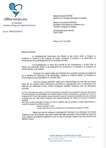 Courrier du Président Bonneau et co-signé par Nicolas Vanier