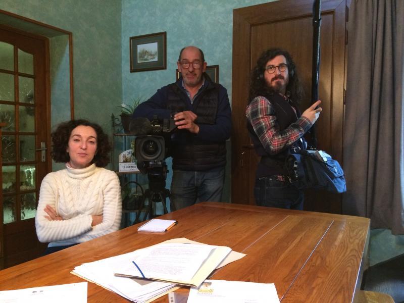 L'équipe de tournage composé de Corinne Bian Rosa, notre journaliste, Pierre Do notre caméramann et Matthias notre preneur de son