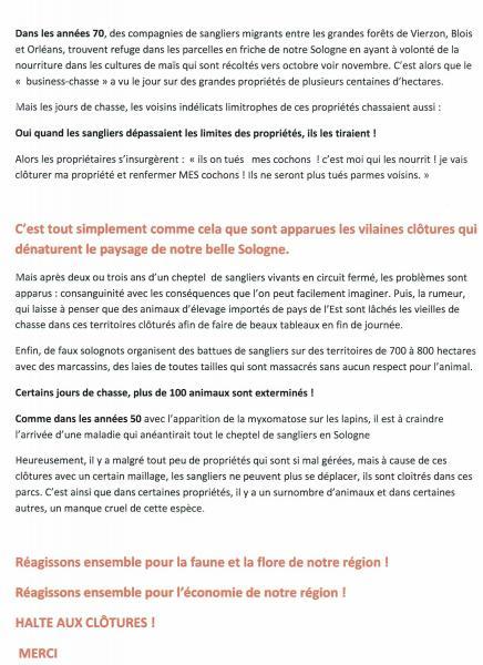 texte n°2, suite de l'explication sur l'implantation des clôtures en Sologne